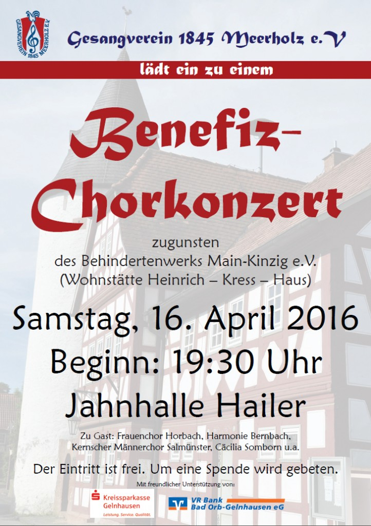 Benefizkonzert am 16. April 2016